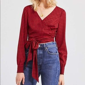 UO Checkered Tie Front Top